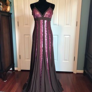 BCBG Silk and Sequin-striped gown